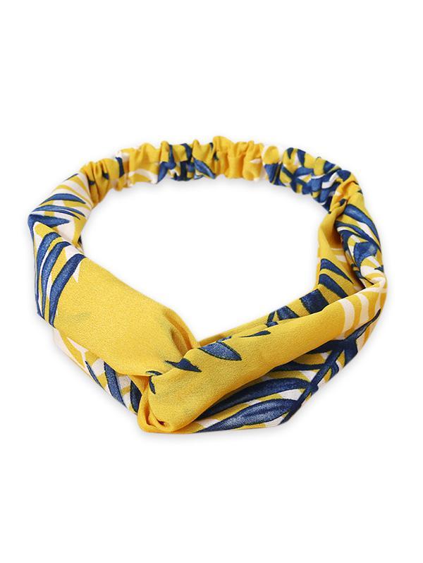 Leaf Print Elastic Hair Band, Yellow
