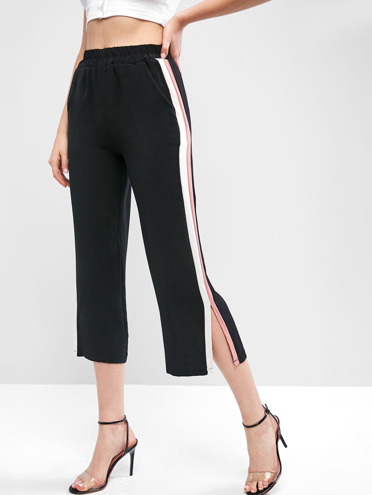High Waisted Stripes Panel Slit Wide Leg Pants фото