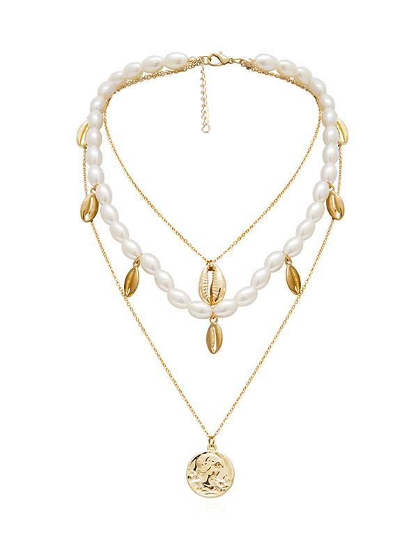 Artificial Pearl Alloy Shell Layered Necklace, Gold