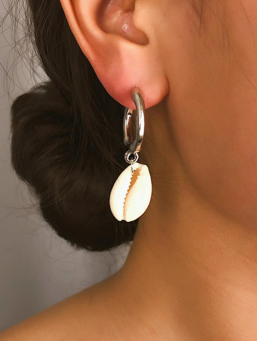 2Pairs Shell C Shape Earrings Set