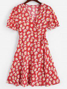ديزي طباعة التفاف البسيطة اللباس - أحمر L