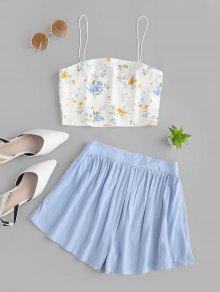ZAFUL Crop الأزهار المعكرونة حزام اثنين من قطعة السراويل مجموعة - البحر الأزرق L