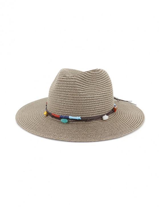 ladies Jewelry Decoration Straw Woven Hat - DARK GRAY