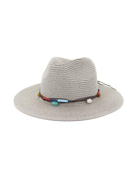 chic Jewelry Decoration Straw Woven Hat - GRAY
