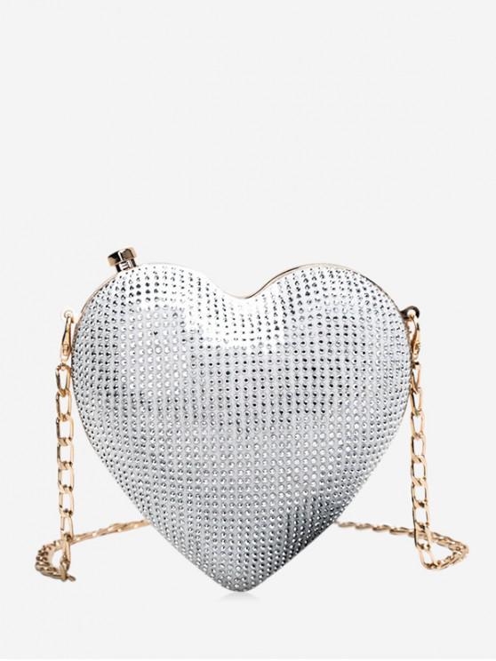 best Heart Shape Chain Crossbody Bag - WHITE