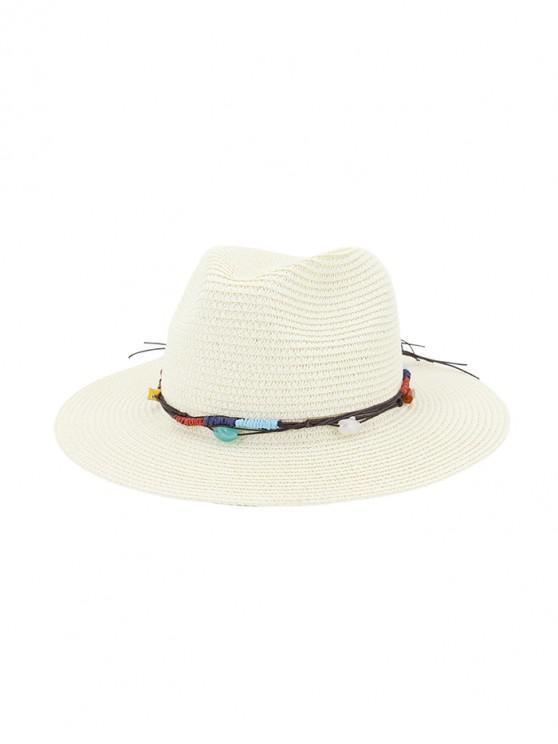 shop Jewelry Decoration Straw Woven Hat - MILK WHITE