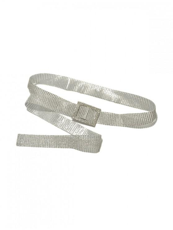 unique Rhinestone Shiny Buckle PVC Belt - WHITE STYLE 1