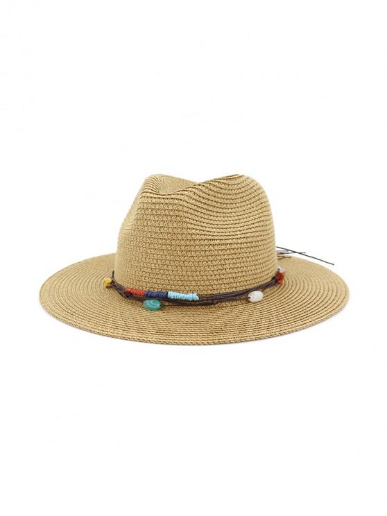 affordable Jewelry Decoration Straw Woven Hat - KHAKI