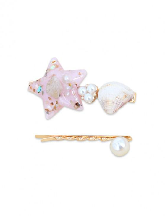 best 2Pcs Shell Star Faux Pearl Hairpin Set - PINK