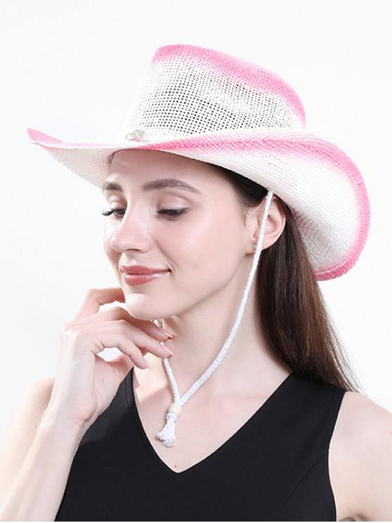 fashion Beach Ombre Straw Cowboy Hat - HOT PINK