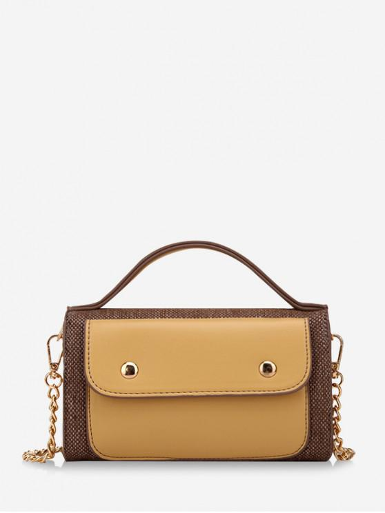 buy Top Handle Patch Chain Crossbody Bag - YELLOW