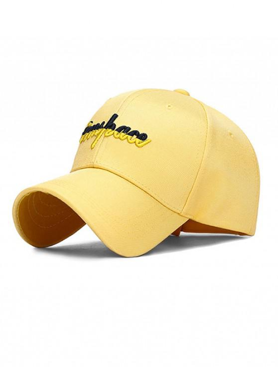 hot Letter Embroidery Adjustable Baseball Cap - YELLOW