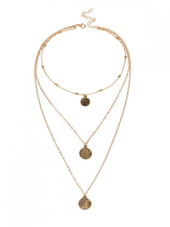 outfit Coin Decoration Multilayered Necklace - GOLD