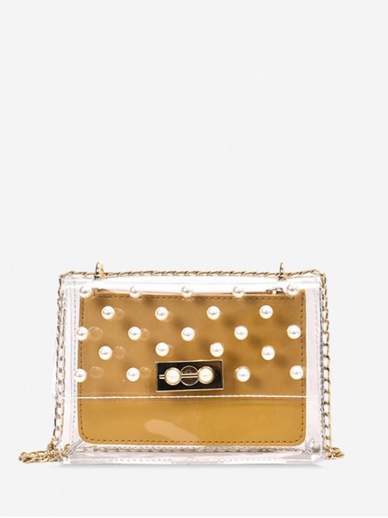 shops Transparent Faux Pearl Studs Chain Handbags - YELLOW