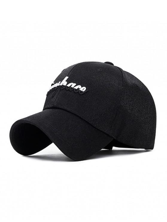 fashion Letter Embroidery Adjustable Baseball Cap - BLACK