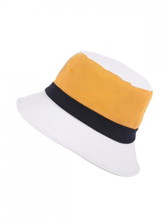 chic Color Block Striped Bucket Hat - WHITE