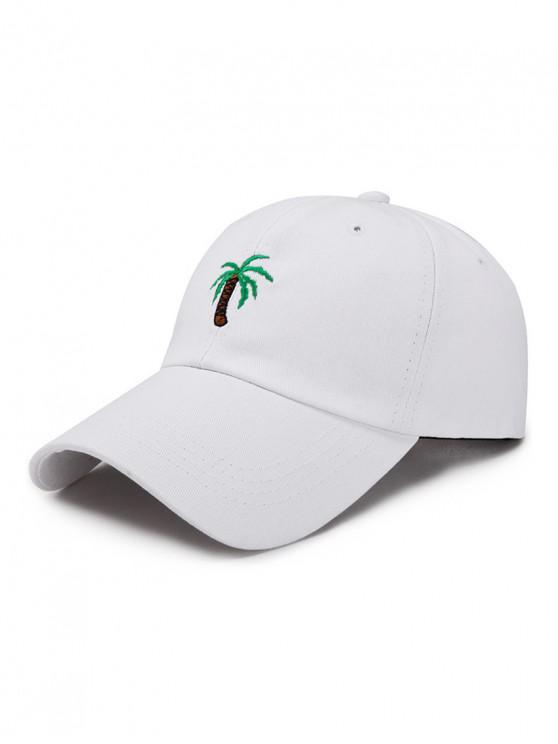 unique Coconut Palm Embroidery Baseball Cap - WHITE
