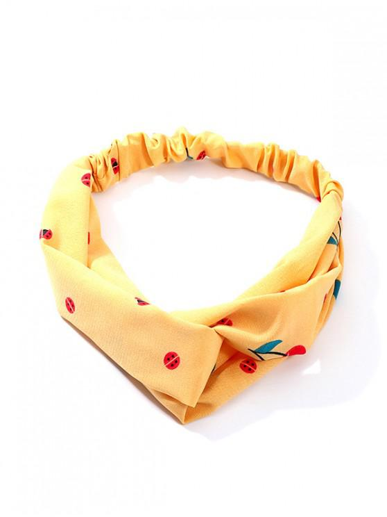 sale Cotton Cherry Pattern Elastic Hairband - YELLOW