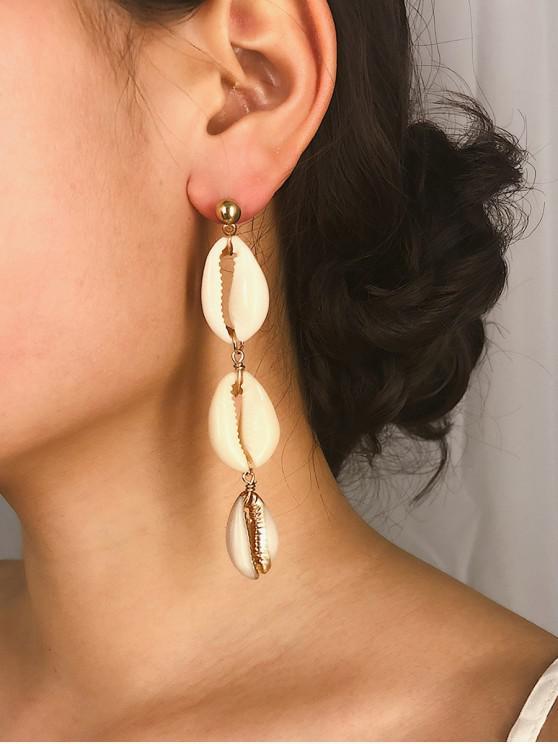 lady Seashell Decoration Dangle Earrings - GOLD