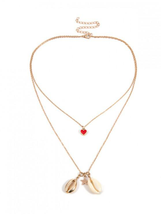 new Seashell Design Alloy Layered Necklace - GOLD