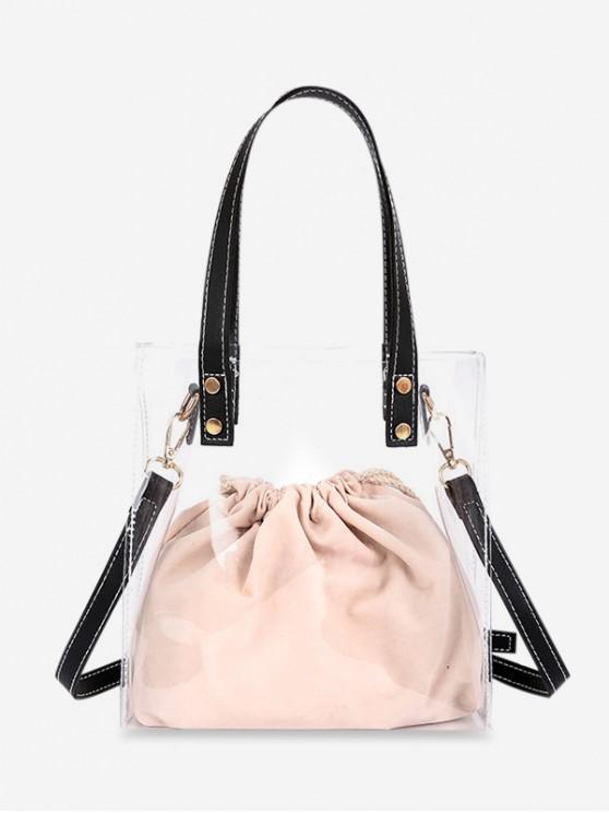sale Transparent PVC Drawstring Shoulder Bag - BLACK