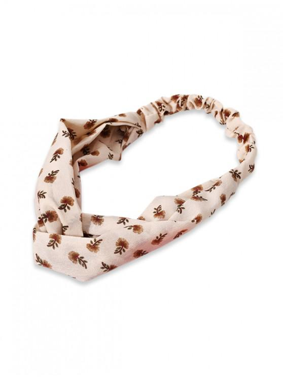women's Tiny Floral Cross Elastic Headband - BEIGE