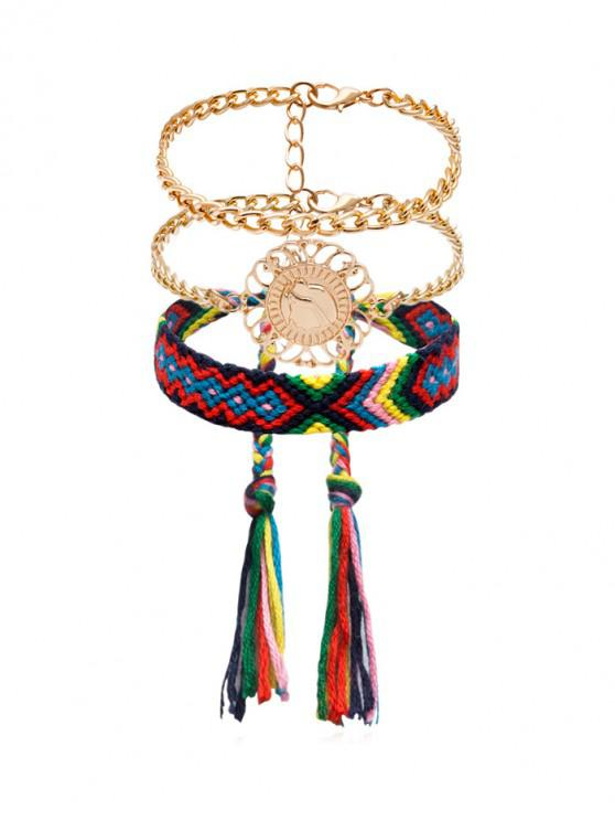 online Ethnic Woven Bracelets Set - GOLD