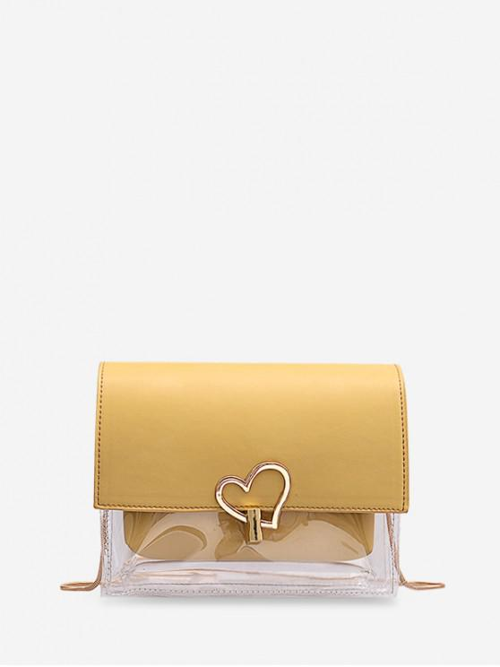 hot Heart Hasp Transparent Chain Shoulder Bag - YELLOW