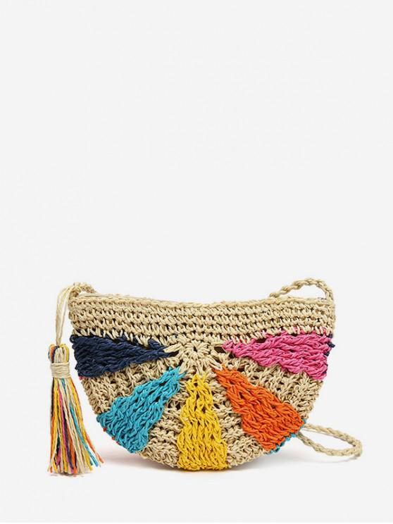 women's Semicircular Colorful Crochet Straw Crossbody Bag - MULTI