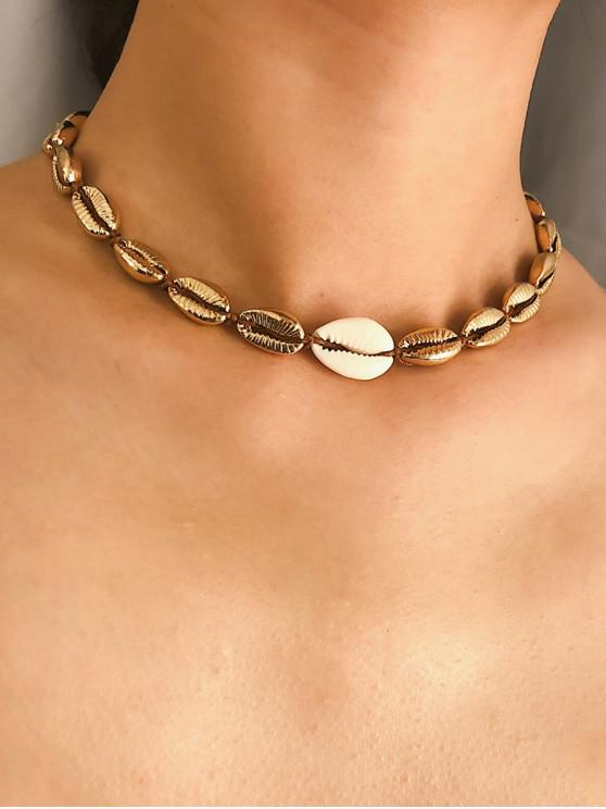 womens Seashell Design Alloy Necklace - GOLD