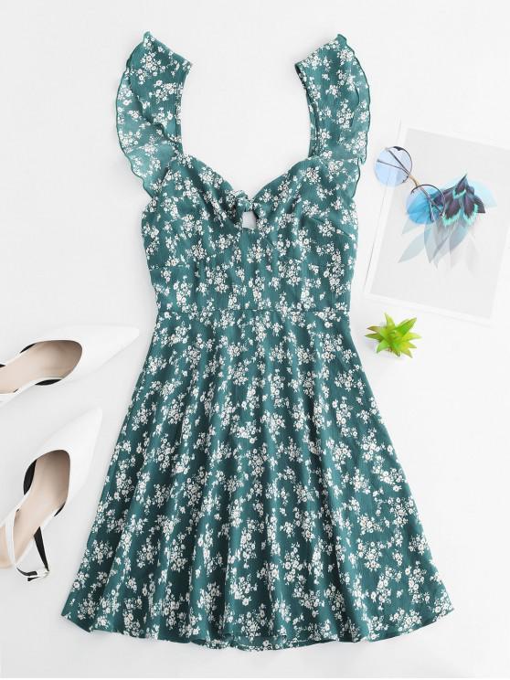 ladies ZAFUL Tie Front Floral Ruffles Mini Dress - GREEN S