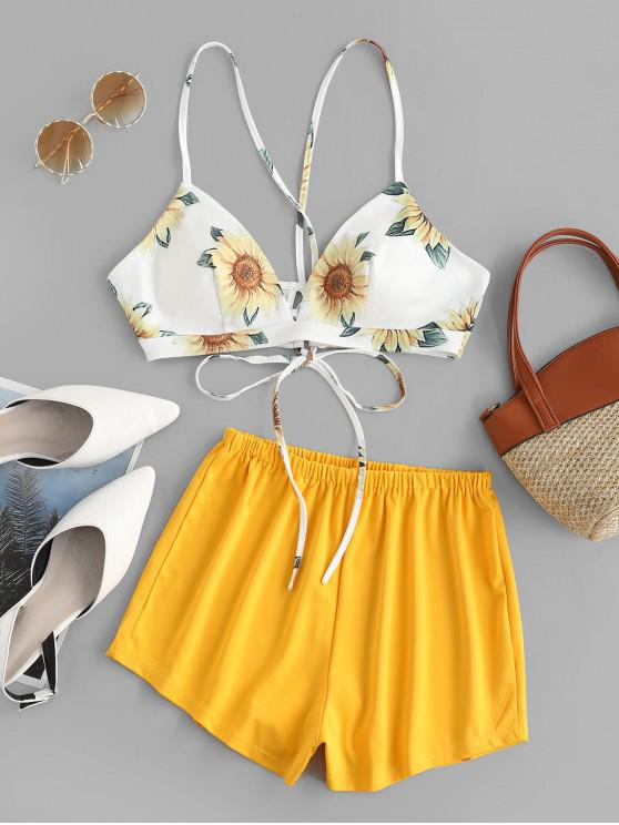 lady ZAFUL Sunflower Print Cami Top and Loose Shorts Set - YELLOW M
