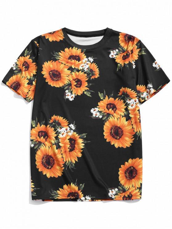 online Short Sleeves Sunflower Allover Print Casual T-shirt - BLACK XL