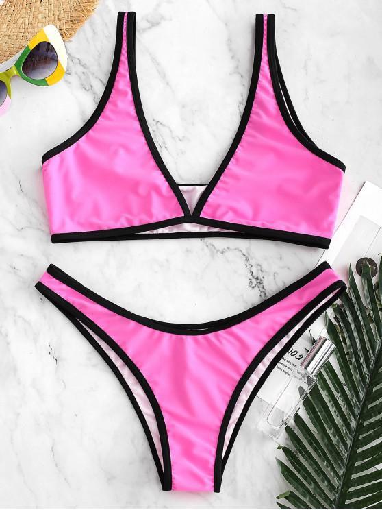 db197c8d67 ZAFUL Contrast Piping High Leg Convertible Bikini Swimsuit - Rose Red M.  Flash sale