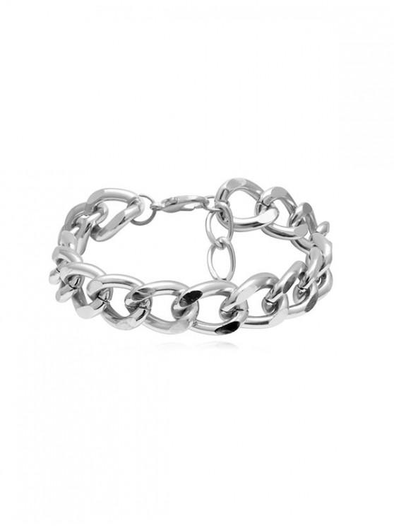 chic Brief Link Chain Thick Anklet - SILVER