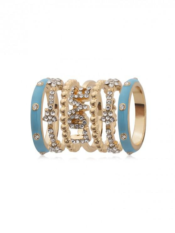 buy 7Pcs Rhinestone Letter Floral Ring Set - GOLD