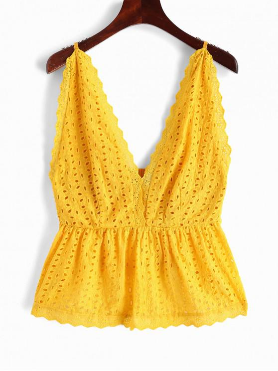 chic ZAFUL Eyelet Plunging Scalloped Tank Top - YELLOW S