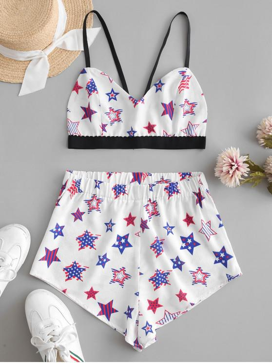 outfits ZAFUL American Flag Star Bralette Top Set - WHITE S