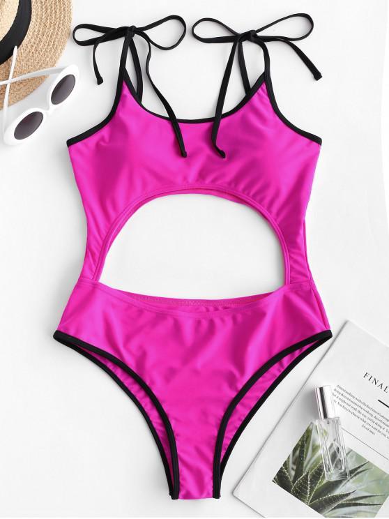 ZAFUL التباين الأنابيب التعادل انقطاع من قطعة واحدة ملابس السباحة - وردة حمراء S