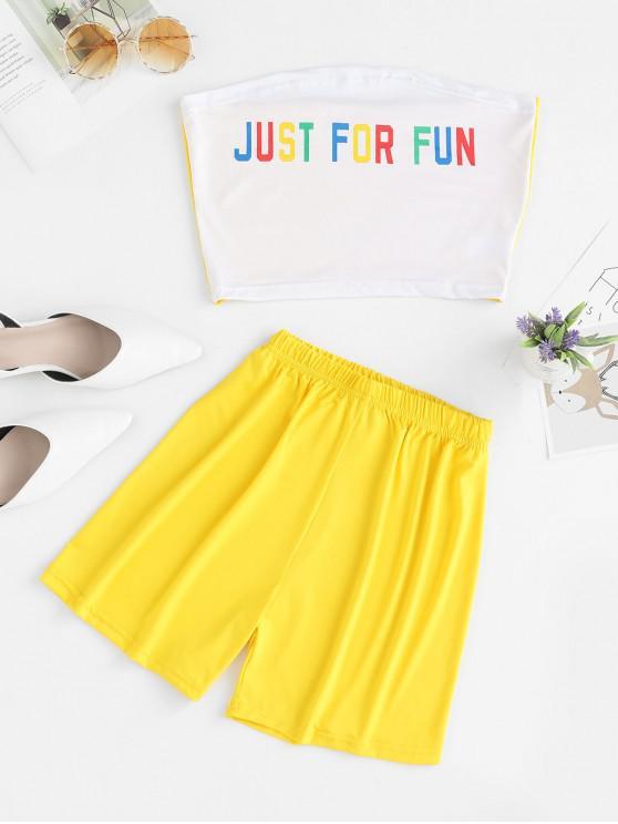 Set top e shorts senza spalline con grafica a lettera - Bianca L
