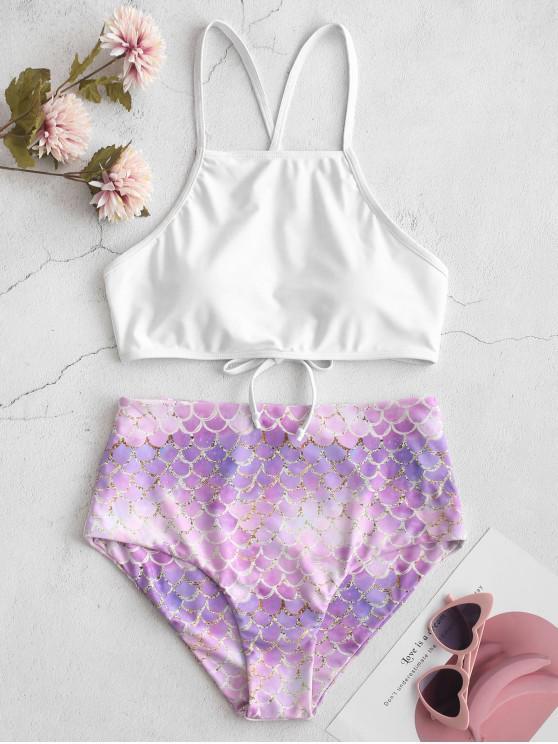 buy ZAFUL Mermaid Criss Cross High Waisted Tankini Swimsuit - MULTI-A L