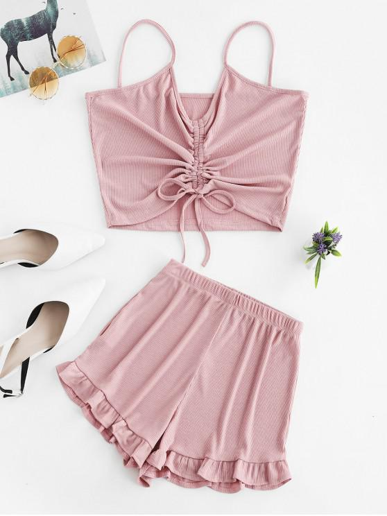 ladies Cinched Cami Top and Ruffle Shorts Set - PIG PINK L