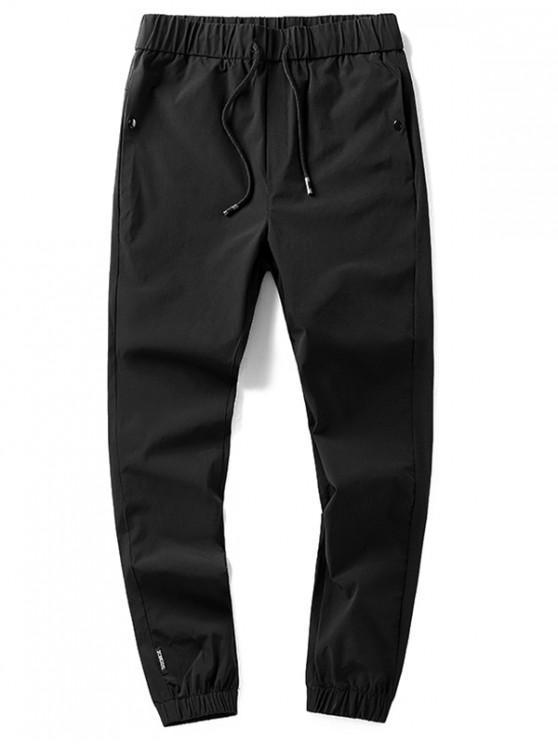 Pantaloni da jogging tascabili laterali a tinta unita con coulisse - Nero XS