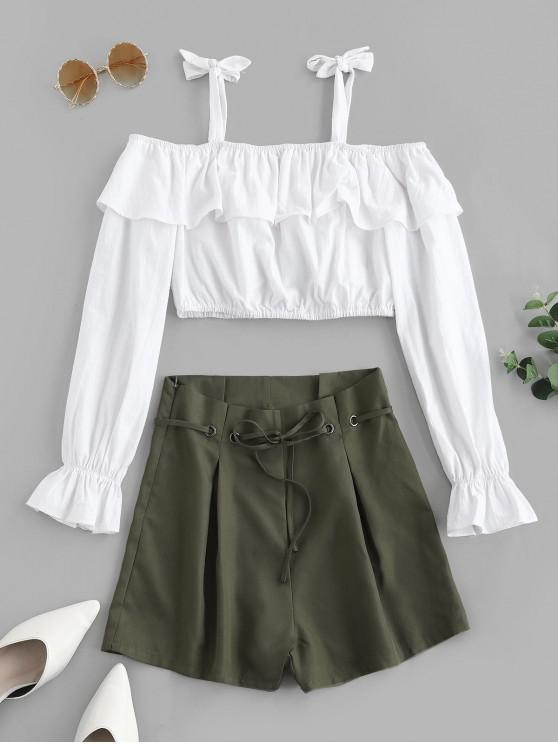 latest ZAFUL Tied Straps Cold Shoulder Ruffles Paperbag Shorts Set - WHITE S