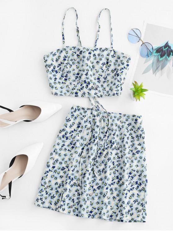outfits ZAFUL Floral Strappy Slit Skirt Set - PASTEL BLUE XL