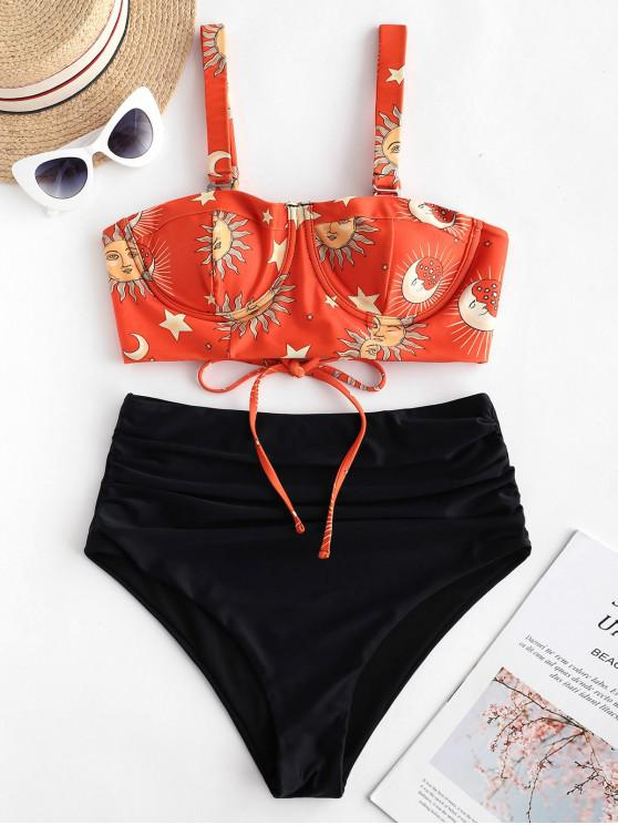 women's ZAFUL Sun Star Moon Print Lace Up Tummy Control Tankini Swimsuit - MULTI-A S