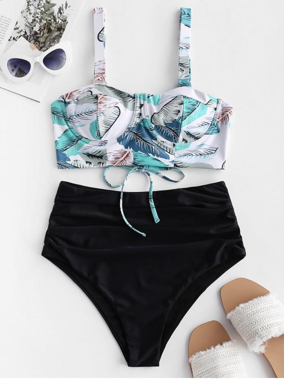 fancy ZAFUL Leaf Print Push Up Lace Up Tummy Control Tankini Swimsuit - MULTI-A L