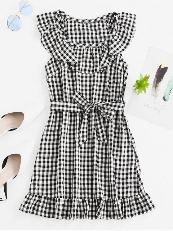 outfits ZAFUL Belted Plaid Ruffles Mini Dress - BLACK L
