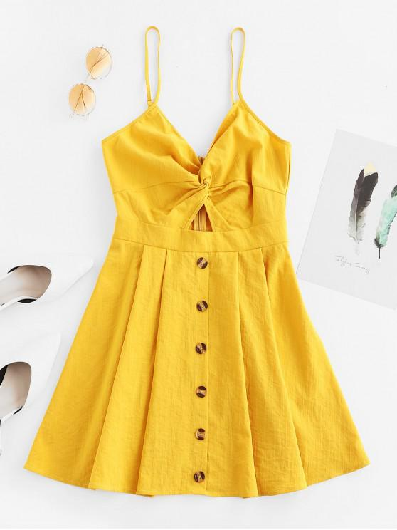 ladies ZAFUL Buttoned Cut Out Twist Cami Dress - BEE YELLOW M