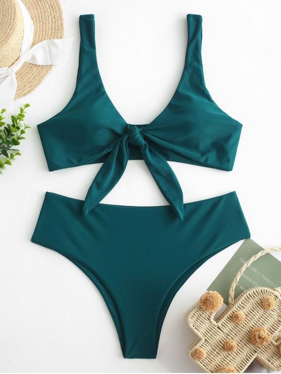 ZAFUL Gepolstertes Bikini-Set mit Bindeband - Pfauenblau M